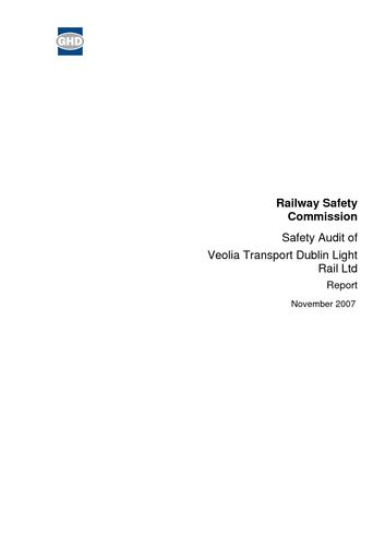 Publication cover - Safety Audit of Veolia 2007